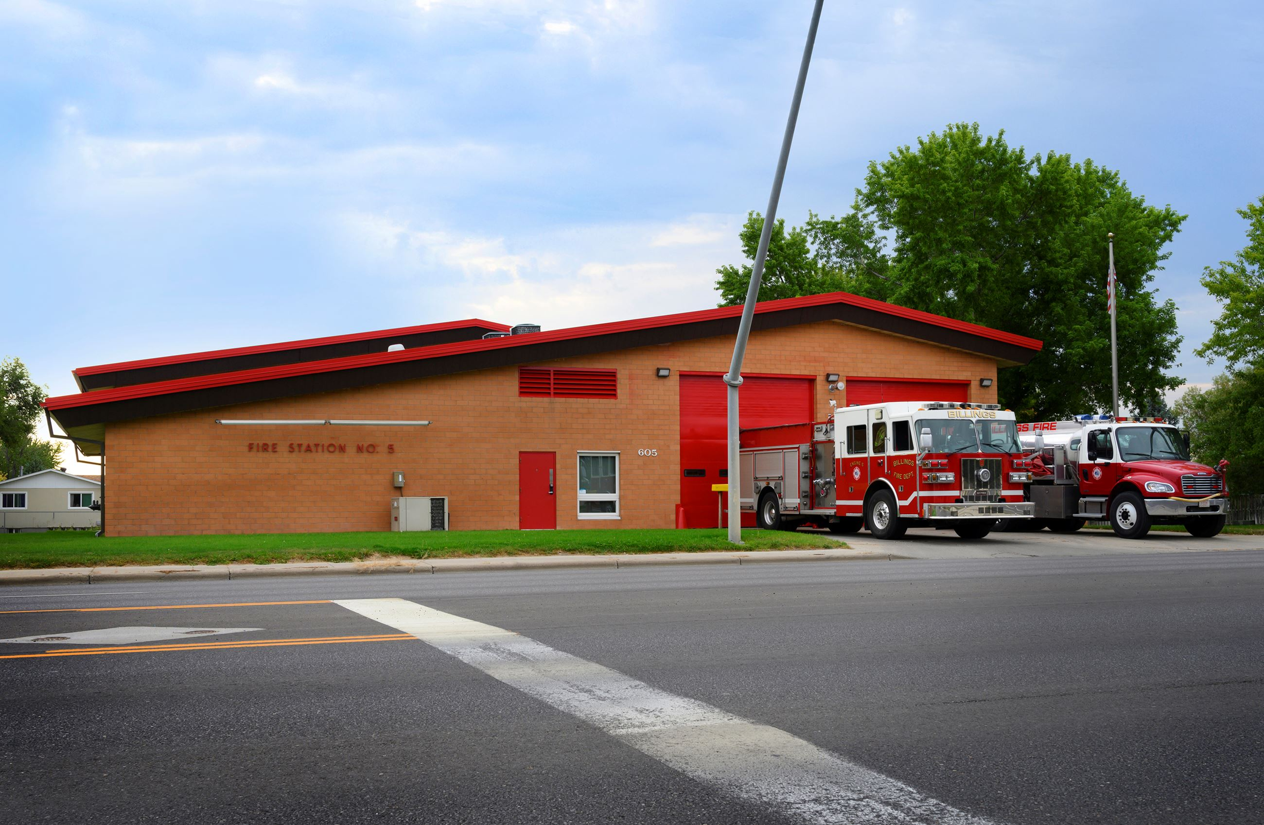 Billings Fire Department Station 5 with pumper and tender on the ramp